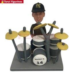 Spersonalizowane perkusista Bobble głowy perkusista prezent dla chłopaka mąż prezent syna prezent perkusista Topper tort urodzinowy prezent na dzień ojca Dru w Posągi i rzeźby od Dom i ogród na