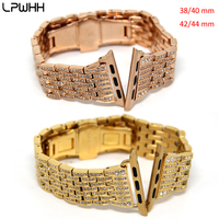 LPWHH Diamond Beaded Watchband For Apple Watch With Drill Seven Beads Stainless Steel Strap For Iwatch 4 3 2 1 Elegant Wristband