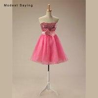 Пикантные розовые линии без бретелек с блестками Короткие Коктейльные платья 2017 Обувь для девочек вечернее мини Homecoming Выходные туфли на вы