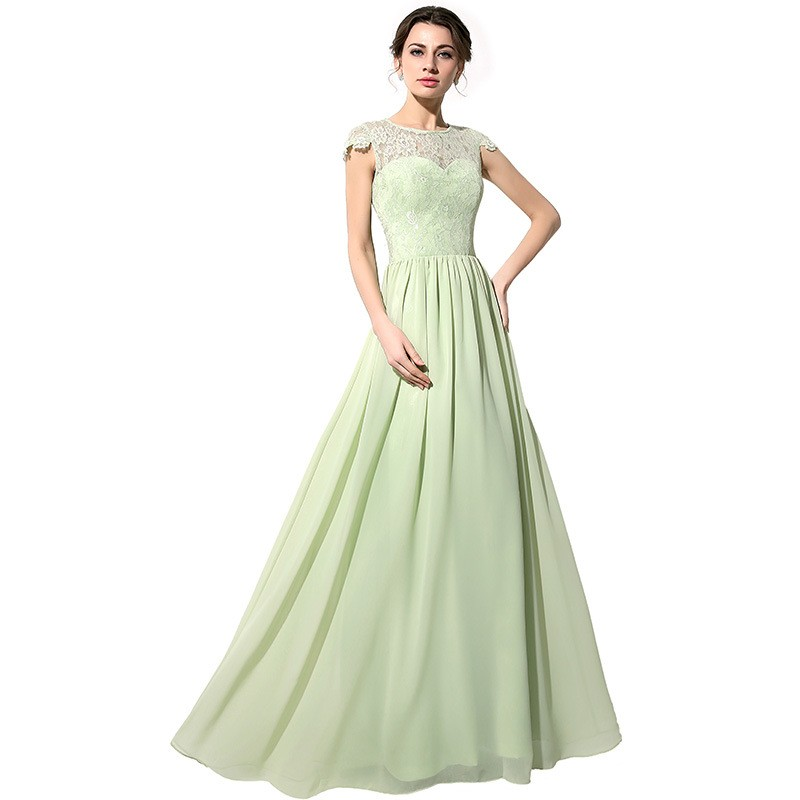 c61c1ccea050b8 2019 Hot Sage Green Long Lace Chiffon Bridesmaid Dresses Modest With Cap  Sleeves Country Formal Bridesmaid Robes Custom Made