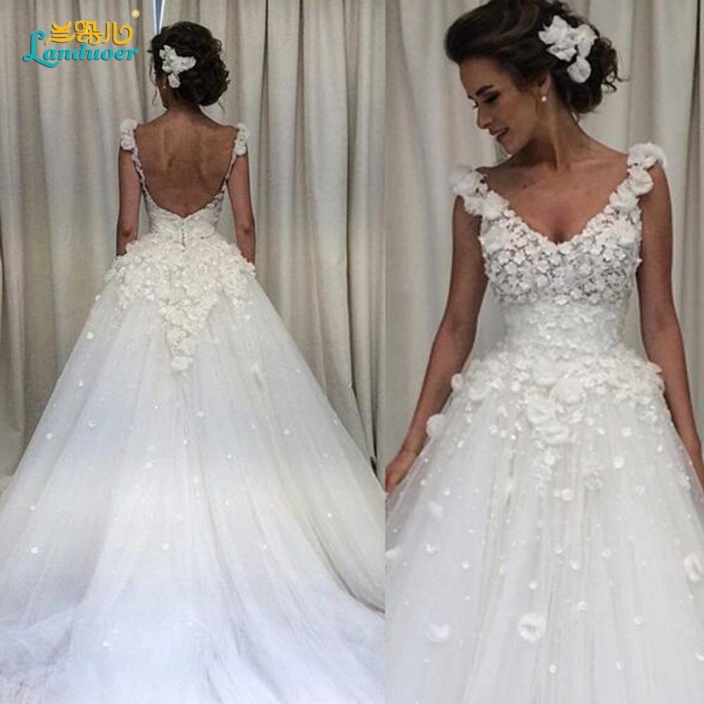 Robe De Mariage Glamorous 11D Blumen Eine linie Brautkleider Sexy v