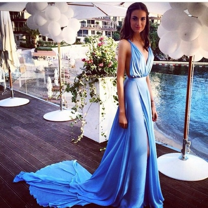 Summer Party Blue Evening Dress Chiffon Backless Long Split Spaghetti  Straps A line Sexy V Neck Simple Celebrity Evening Gowns -in Evening Dresses  from ... 51ff2ae65