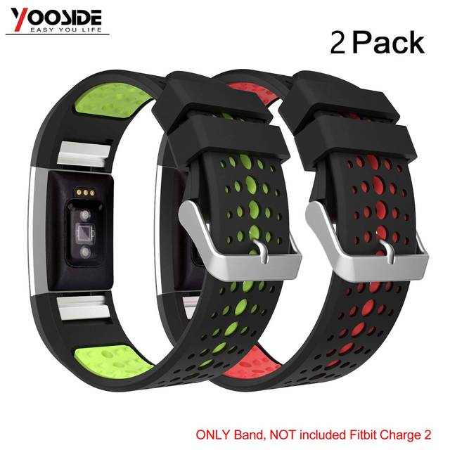 US $12 79 20% OFF|2 Pack Soft Silicone Adjustable Waterproof Sport Watch  Wrist Strap Band for Fitbit Charge 2/Charge 2 HR Replacement Wristband-in