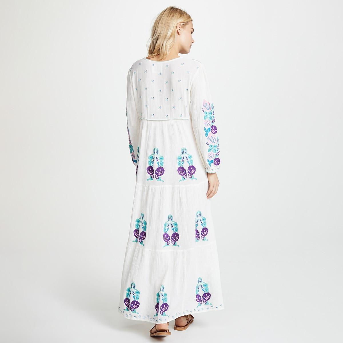 Naturel Lara brodé Maxi robe femmes 2019 été automne à manches longues col en V à lacets robe Boho Hippie plage blanc longue robe - 4