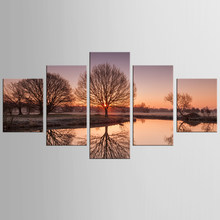 5 panel printing tree art sunset landscape picture big canvas painting bedroom living room home wall art decoration painting(China)