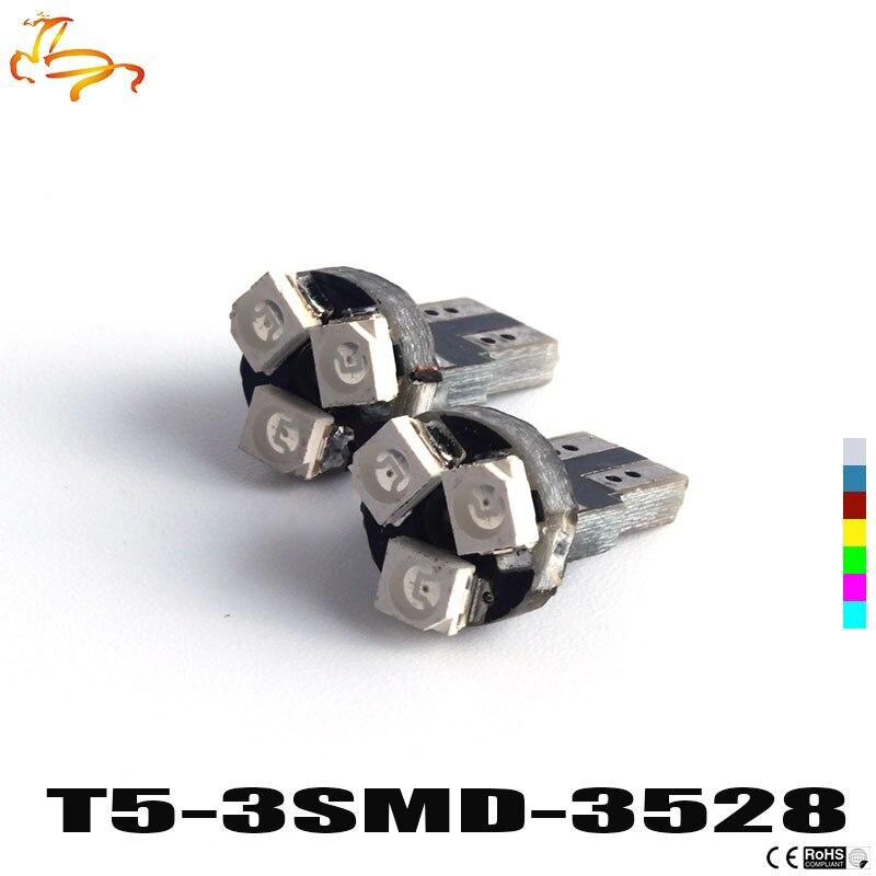 10шт Белый Т5 3 светодиода 3528 СМД 3led 3smd авто лампы приборной панели Датчик света приборов предупреждающий Индикатор сигнала лампы