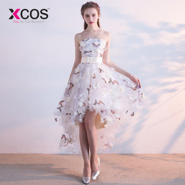 XCOS Strapless Pleat Lace Up High-low Asymmetry Vintage Elegant Flowers Taffeta   Prom   Gown Dancing Party   Prom     Dresses