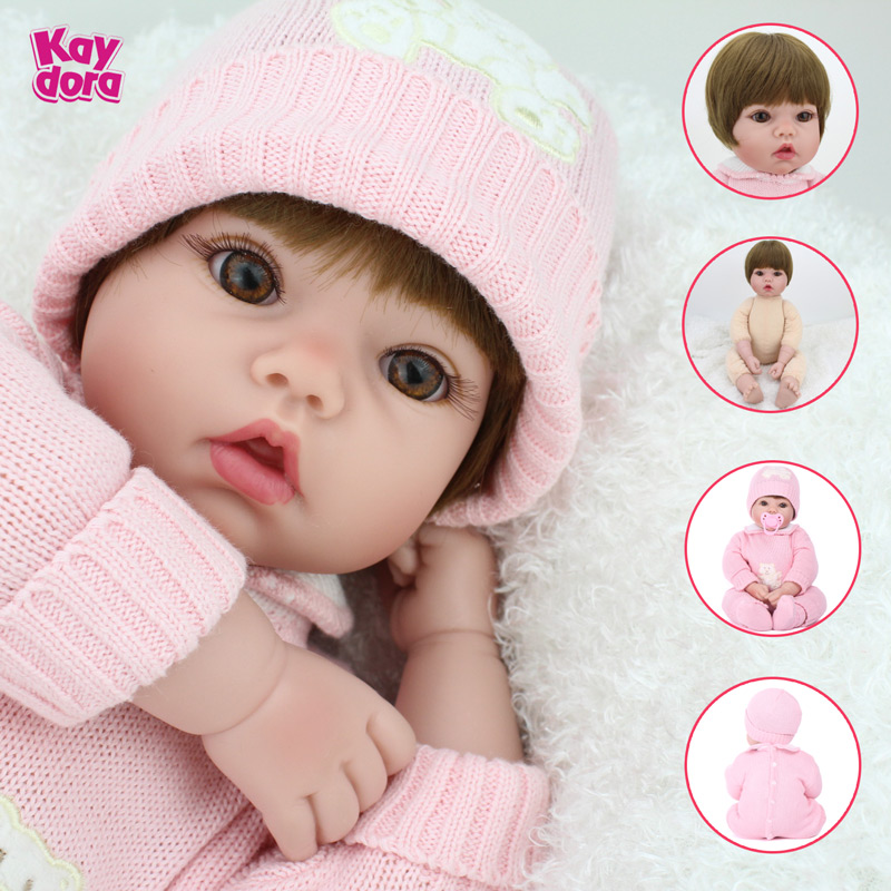 So Truly Real Silicone Reborn Doll Cute Cloth Body Dolls For Baby Present Kids Toys Girls 2015 Brown Eyes MINI