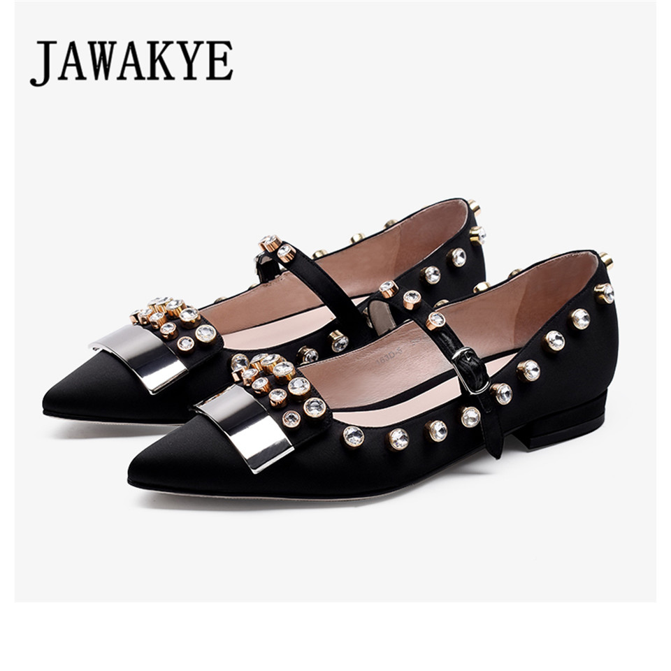 JAWAKYE Crystal Ballet Flats Shoes Women Pointed Toe Satin Soft Bottom leisure Dress shoes Buckle Loafer Flat Shoes Woman timetang 2018 buckle knitted women single shoes square toe ballet flats soft bottom fashion work shoes woman flat shoes c084