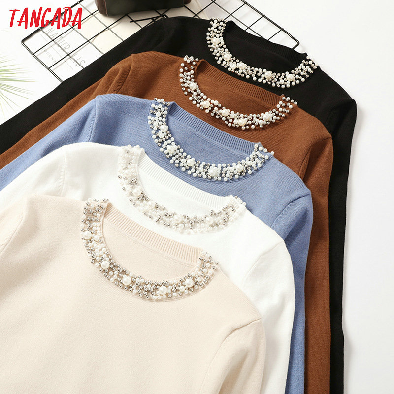 Tangada Autumn Winter Women Beaded Neck Sweater 2019 Casaco Feminino Elegant Lady Sweater Jumper Casual Warm Pull Femme AQX11