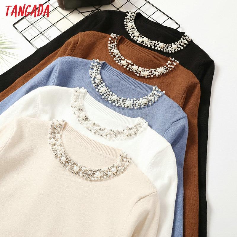 Tangada Autumn Winter Women Beaded Neck Sweater 2019 Casaco Feminino Elegant Lady Sweater Jumper Casual Warm Pull Femme AQX11