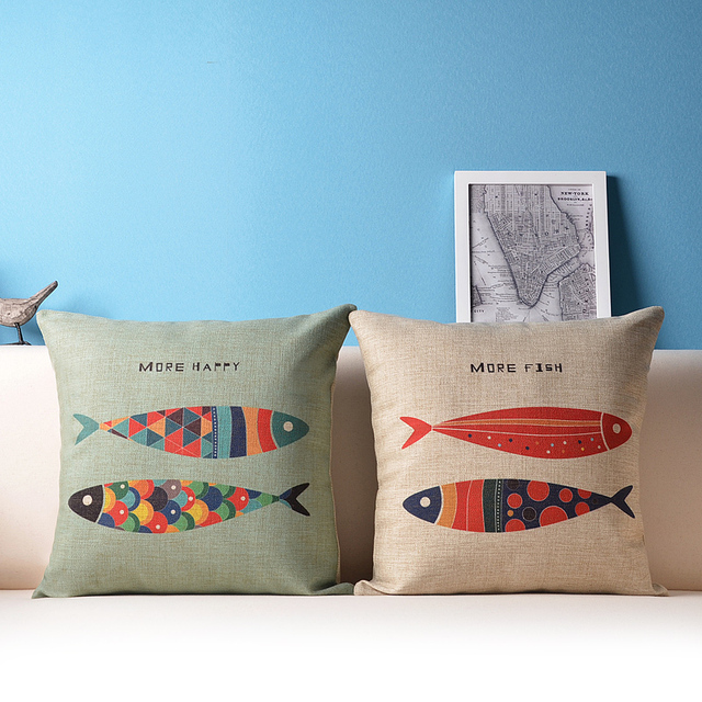 Decorative fish throw pillow cushion cover set nautical couch