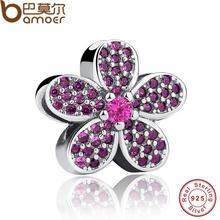 925 Sterling Silver Purple Cristales Flor Noble Encanto Cupieron la Pulsera y el Collar de La Joyería Femenina Accesorios PAS228