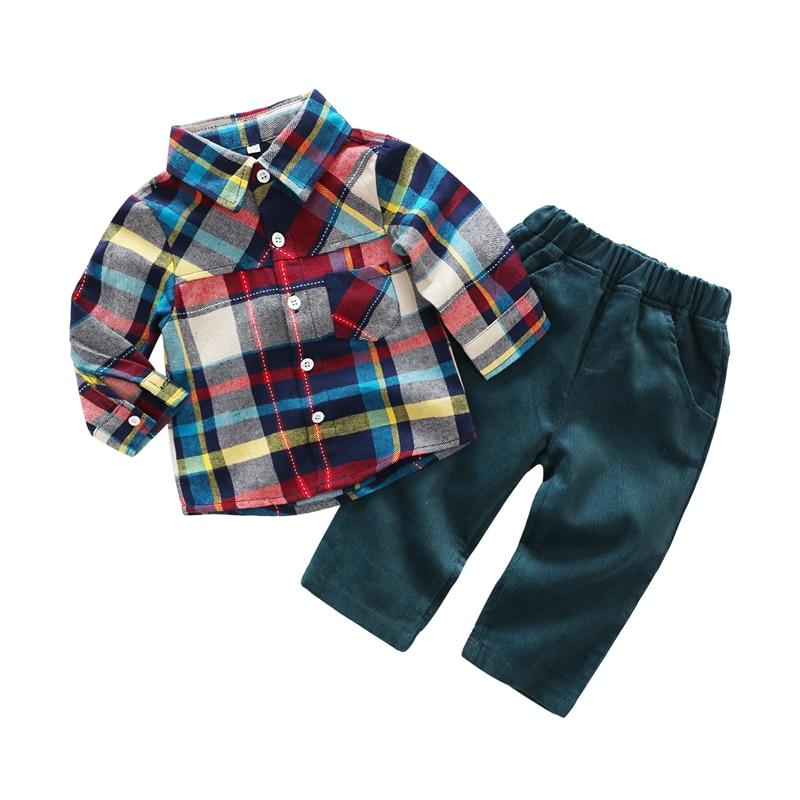 Newbron Baby Boy 2PCs Clothes Set Gentleman Baby Kids Boys Long Sleeve T Shirt + Pant Set Tracksuit Spring Baby Boy Clothes Sets