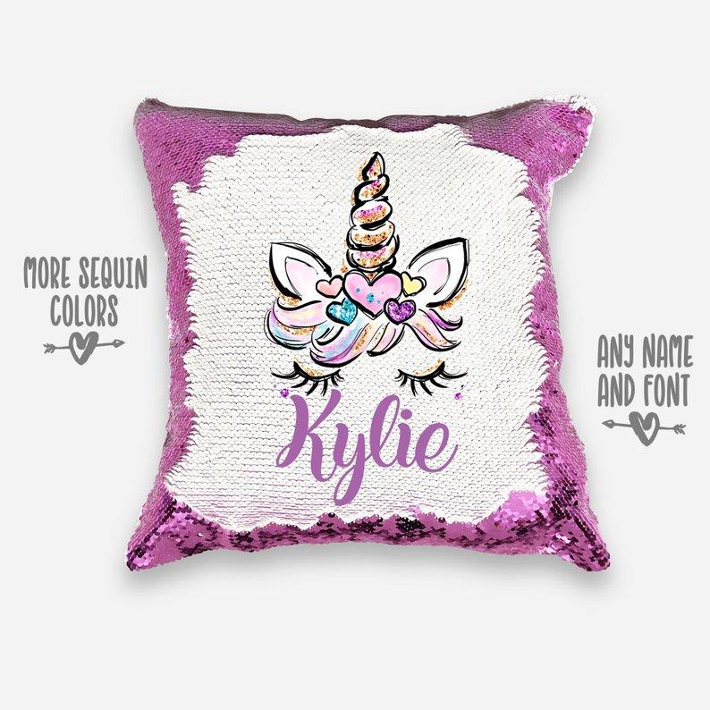 Floral Letter Personalised Magic Mermaid Pillow Name Pillow Unicorn Pillow Decorative Pillow | Custom Sequin Reversible Pillow