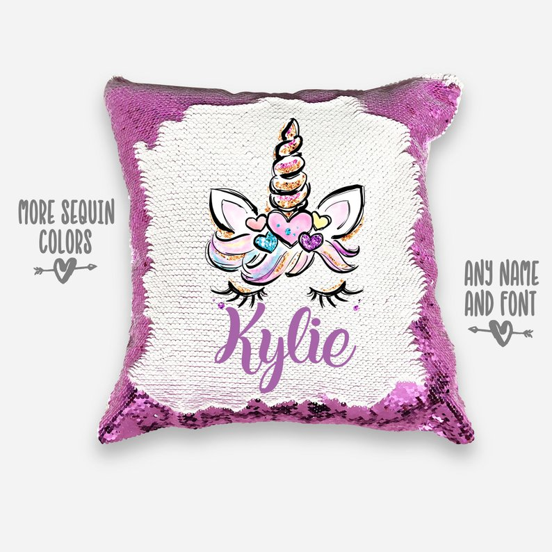 PERSONALIZED Unicorn Pillowcase Mermaid Pillow Reverse Sequin Custom reversible sequins pillow cover