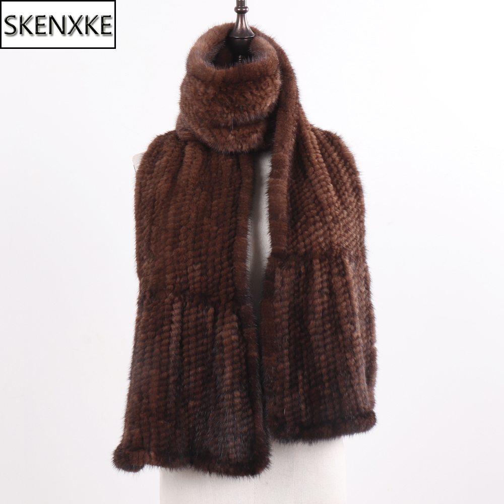 Women Fashion Quality Real Mink Fur Scarf Shawl 100% Natural Real Mink Fur Scarf Lady Winter Warm Hand Knitted Real Mink Muffler