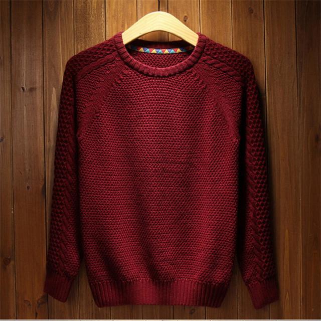 2016 NOVA Marca mens Blusas de Inverno Vermelho Sólido & primavera Pullovers Camisola Dos Homens Slim Fit vestido Casual Malhas Pullover Preto homem