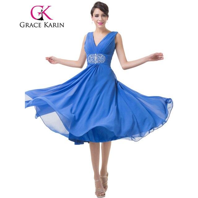 Grace Karin Evening Dress Elegant Chiffon Blue Short Double V Neck