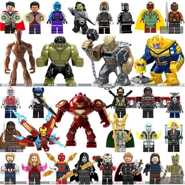 Legoings Infinito Guerra Thanos Guardiões da Galáxia Aranha Marvel Super Heroes homem de ferro Avengers THOR Building Blocks Brinquedos Figuras