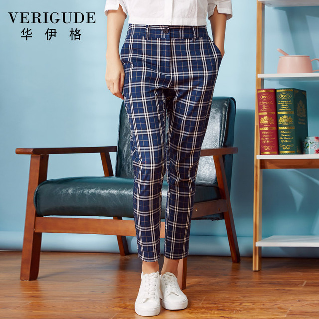 Veri Gude 2017 Women Plaid Pants Women Skinny Pants Middle Waist  Chic Style In Style Red  And  Black Legging