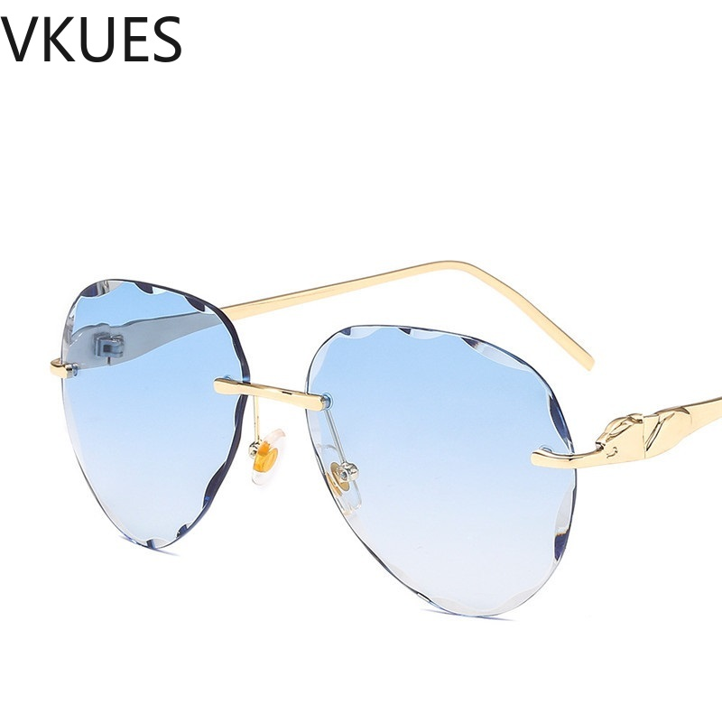 VKUES Pilot Sunglasses Women Leopard Decorated Vintage Sun Glasses Shades for Trimming Rimless Festival UV400