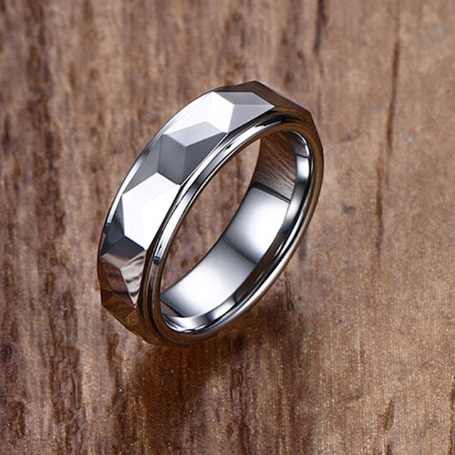 Fashion Mens Rings Tungsten Carbide Engagement Wedding Band Ring Facet Cut Shiny Men Jewelry Silver-color Anel Aneis Masculino