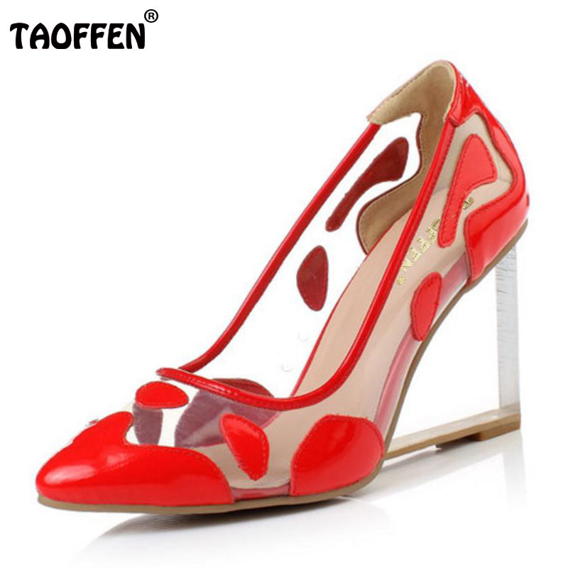 TAOFFEN women genuine leather wedge shoes fashion see through pointed toe fashion wedding heels pumps shoes size 33-42 R08691 nayiduyun women genuine leather wedge high heel pumps platform creepers round toe slip on casual shoes boots wedge sneakers