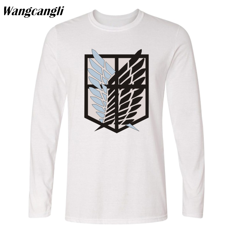Wangcangli Attack Giant Men's Long Sleeve T-shirt Funny Cartoon Tops Japan Hot Anime Attack on Titan Men's Cotton T-Shirt