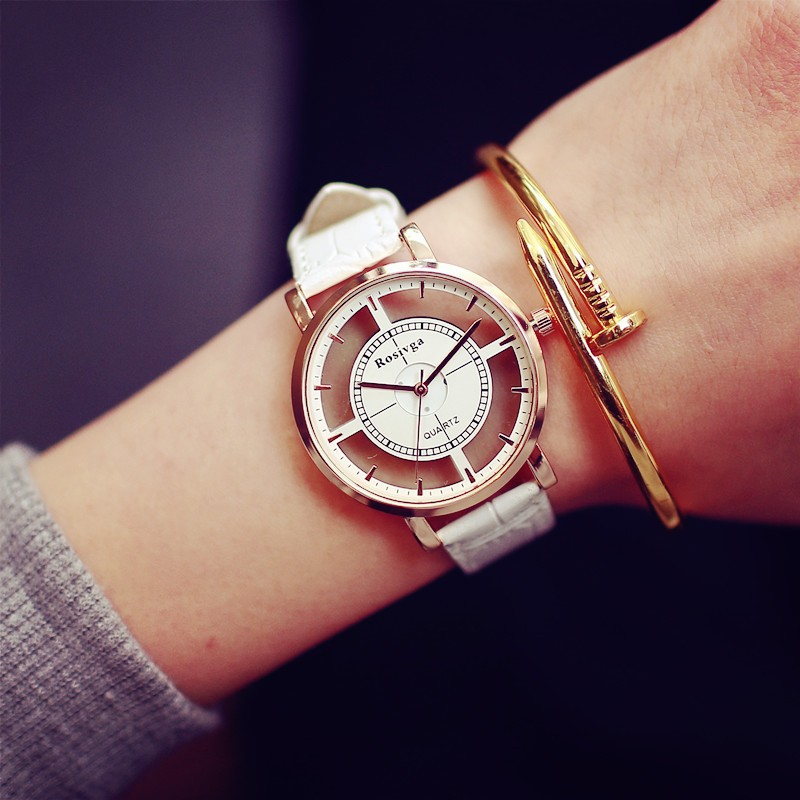 Big Dial Transparent Hollow Skeleton Simple Quartz Wrist watch Fashion Casual Leather Women Watches Couple Table Dress Watch super star korea stylish man casual watch leather strap big dial fashion quartz wrist watch popular unique pattern couple clock