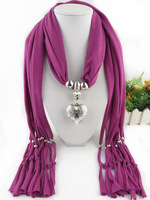 2015 New Arrival Charms Scarf Hearts Drop Pendant Scarf Jewelry Scarves Necklace Scarf Free Shipping
