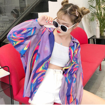 2018 New Summer Fashion Clothes Batwing Full Sleeve Sunscreen Cardigan Turn-down Collar Colorful Jacket Printed WA70814XL