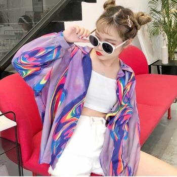 2018 New Summer Fashion Clothes Batwing Full Sleeve Sunscreen Cardigan Turn-down Collar Colorful Jacket Printed WA70814XL