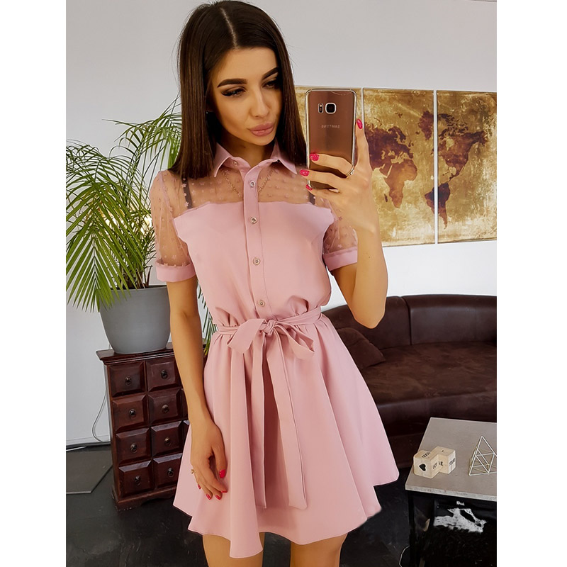 Women Vintage Lace Patchwork A-line Party Dress Short Sleeve Turn Down Collar Solid Casual Mini Dress 2019 Summer Fashion Dress