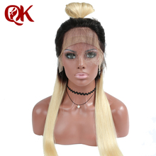 QueenKing hair Lace Front Wig 130% Density Ombre T1B 613 Silky Straight Preplucked Hairline 100% Brazilian Human Remy Hair
