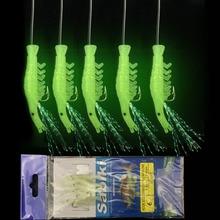5PCS/Set Luminous Shrimp hook Fishing Lure Single Hook Tack Bait Jigs Hook soft lure Worm Fake lure Soft Lure Fishing Hooks