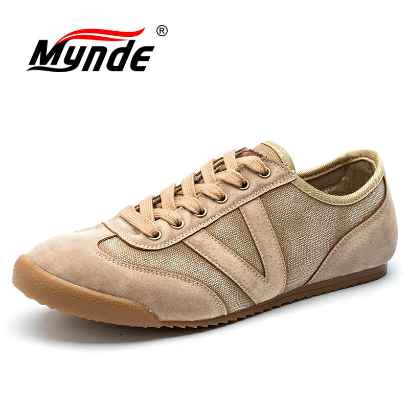 MYNDE Canvas Shoes Men Casual Shoes Breathable Wear-resistant Men Shoes Comfortable Round Toe Lace-up Flat Shoes Zapatos Hombre купить