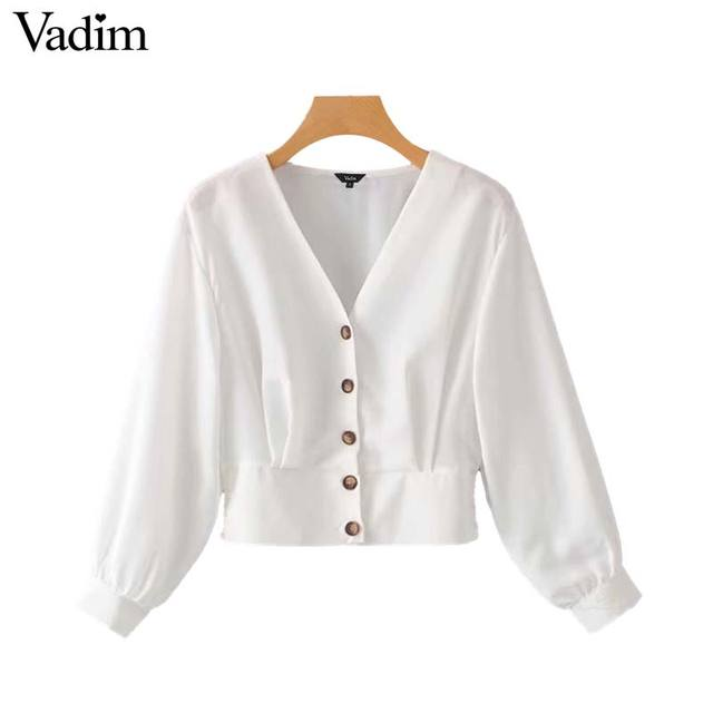 dd6ce0fa9594f1 Vadim women white V neck short blouse long sleeve buttons back elastic  waist solid shirt female casual chic tops blusas LA775