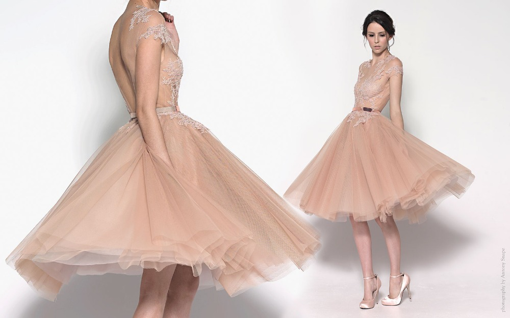 New Fashion Romantic Cheap Short Tulle Champagne Cocktail Dresses With Open  Back Knee Length Party Dress For Prom Night-in Cocktail Dresses from  Weddings ... a5160e69c477