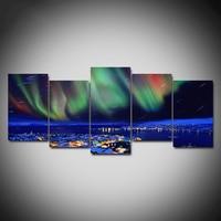 Modular HD Print Poster Wall Art 5 Panel Aurora Borealis Beautiful Town Night View Home Decor