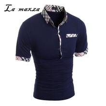 07c0624466 2018 Homem de Negócios de Moda Xadrez Retalhos de Manga curta Camisas Pólo  Slim Fit Camisa de Alta Qualidade