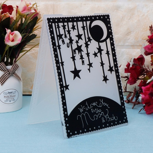 Plastic Embossing Folder Template for DIY Scrapbook Photo Album Card Paper Craft Star Moon--Y142