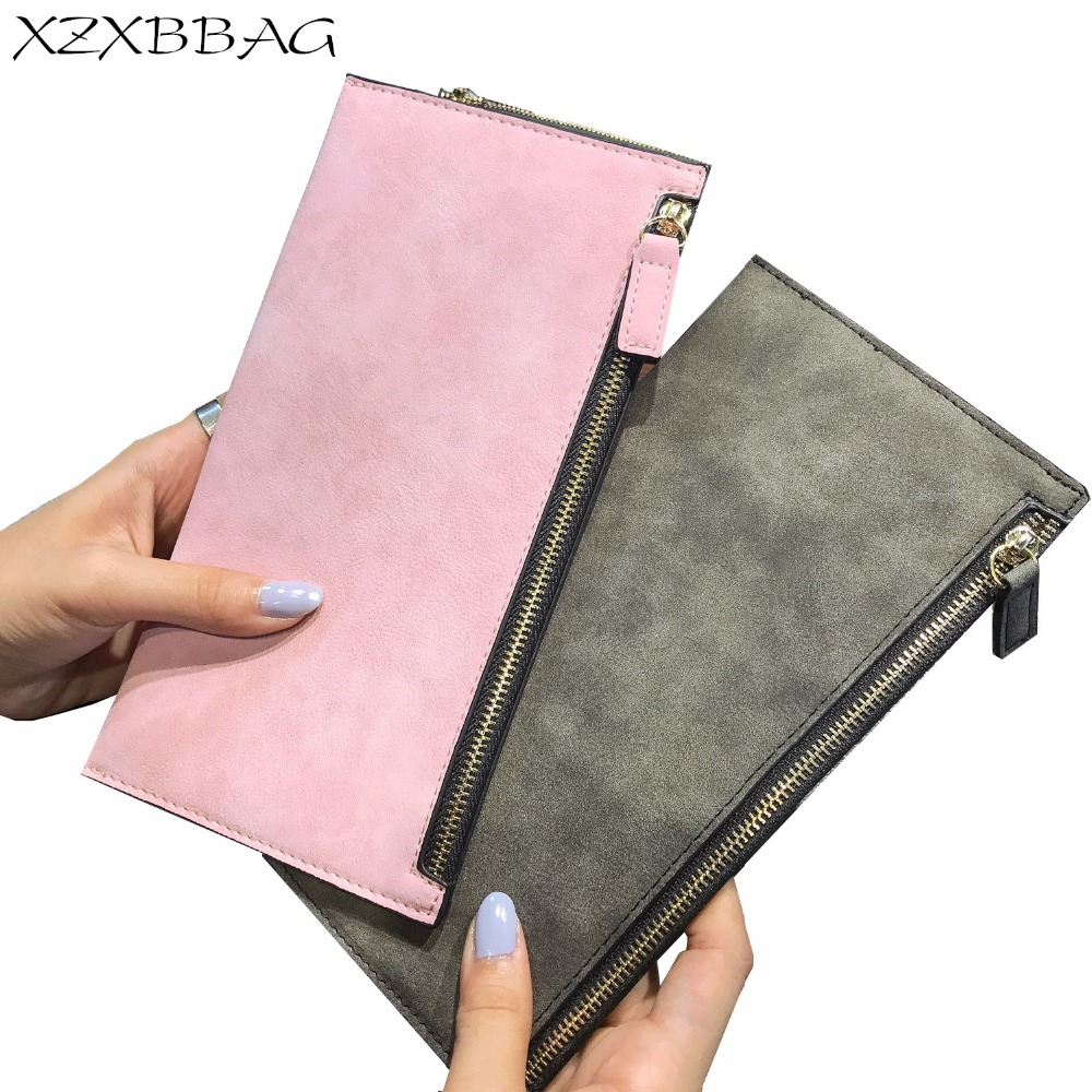 XZXBBAG New Fashion Scrub Women Long Wallet Girls Zipper Thin Purse Lady Money Bag Female Pu Leather Handbags Clutch Wallet xzxbbag fashion female zipper big capacity wallet multiple card holder coin purse lady money bag woman multifunction handbag