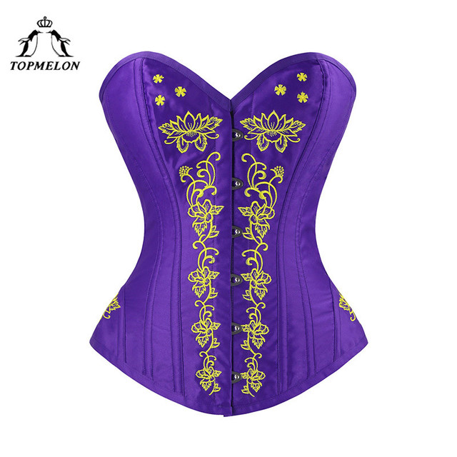 9a11126caf TOPMELON Bustier Gothic Corselet Corset Women Steampunk Modeling Strap  Embroidery Floral Silky Party Wedding Slim Corset Tops