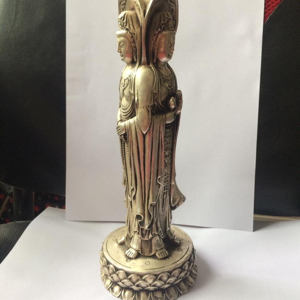 """10/"""" China Brass Three Sides Of Guanyin Furnishing Articles Buddha Statue"""