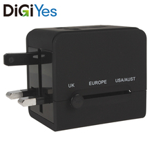 Black 2 USB Port Sockets Power Plug Charger Adapter Fast Wall Charger for World Travel Mobile Phone iPad vina ups 001a safety 4 port usb fast charger with power adapter black us plug