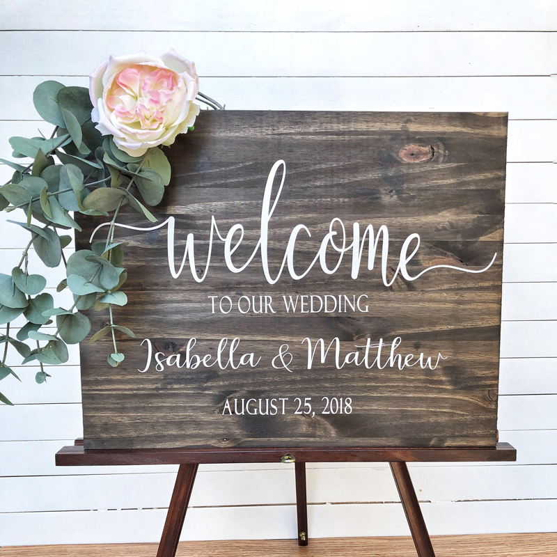 Wedding Welcome Sign Wood Decals Name Sticker Rustic Wedding Decoration Vinyl Stickers For Board Personalised Decal Modern G40(China)