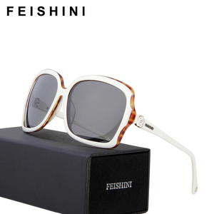 FEISHINI Used For A Long Time Not Deformation Eyewear Luxury High Quality Acetae Frame White Sunglasses Women Polarized With Box
