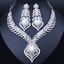Hot sale Silver Plated White Crystal Rhinestones Feather shaped Necklace Earrings Set African Bridal Jewelry Sets