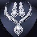 Venda quente de Prata Banhado Branco Cristal Pedrinhas Pena em forma de Colar Brincos Definir Conjuntos De Jóias de Noiva Africano